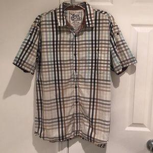 Men's plaid short sleeve button down